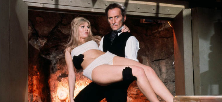 "Susan Denberg and Peter Cushing in a promotional photo for ""Frankenstein Created Woman"" (1967)"