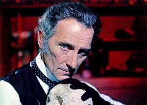 "Peter Cushing in a promotional photo for ""Frankenstein Created Woman"" (1967)"