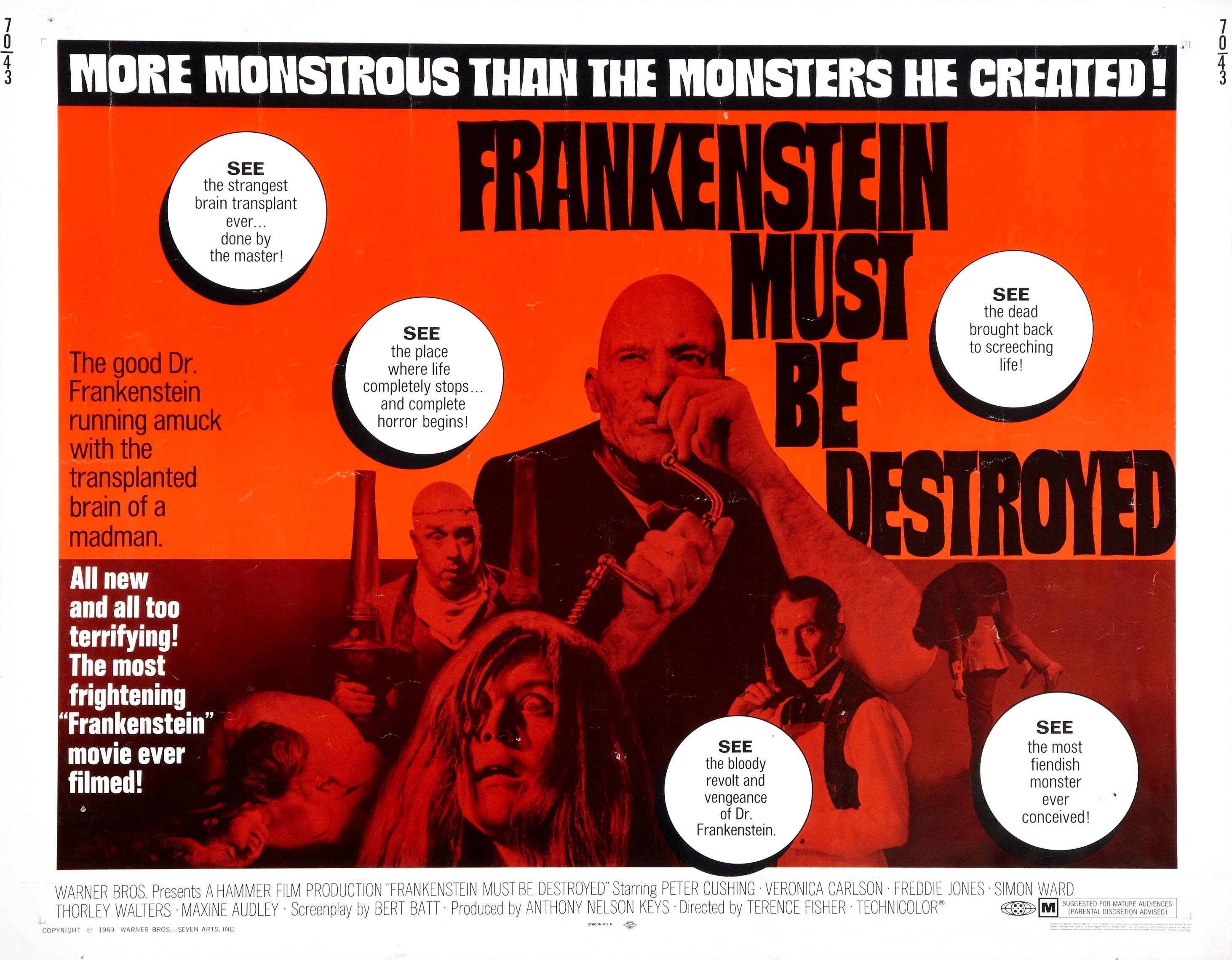 Movie Poster for &quotFrankenstein Must Be Destroyed""