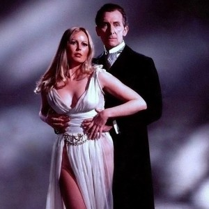 "Veronica Carlson and Peter Cushing in a promotional photo for ""Frankenstein Must Be Destroyed"" (1969)"