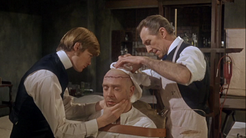 "Simon Ward, Freddie Jones, and Peter Cushing in ""Frankenstein Must Be Destroyed"" (1969)"