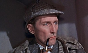 "Peter Cushing as Sherlock Holmes in ""Hound of the Baskervilles"" (1959)"