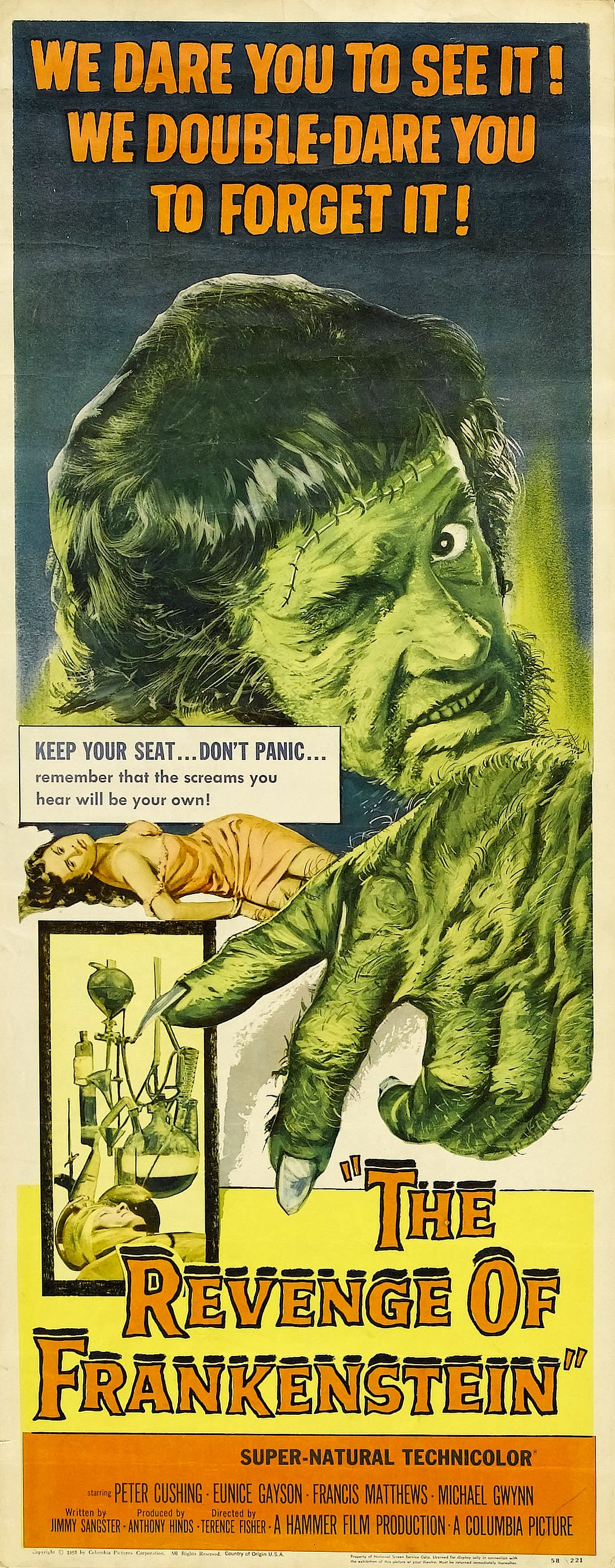 Movie Poster for &quotThe Revenge of Frankenstein""