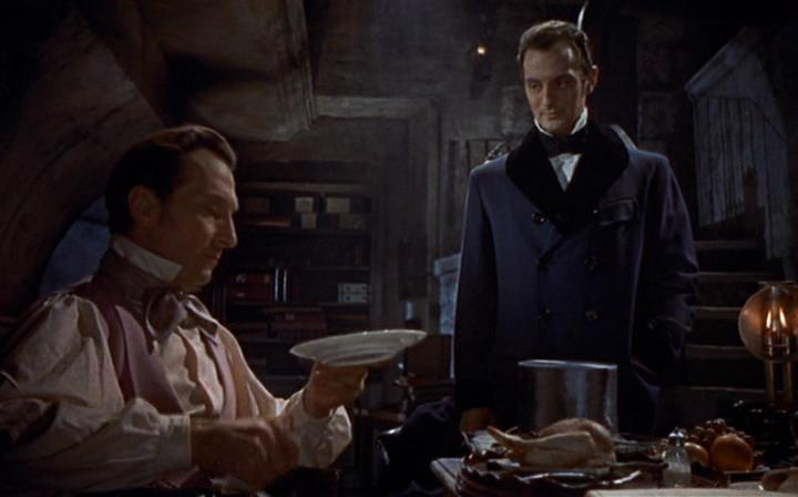 "Peter Cushing and Francis Matthews in ""The Revenge of Frankenstein"" (1958)"