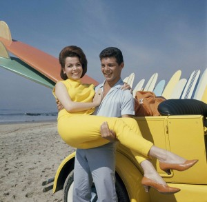 "Annette Funicello and Frankie Avalon in a promotional photo for ""Beach Party"" (1963)"