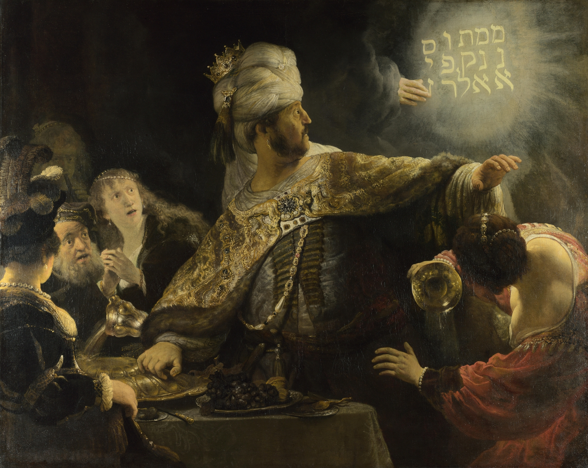 """Belshazzar's Feast"", a painting by Rembrandt, circa 1635, depicting an incident from the Book of Daniel"