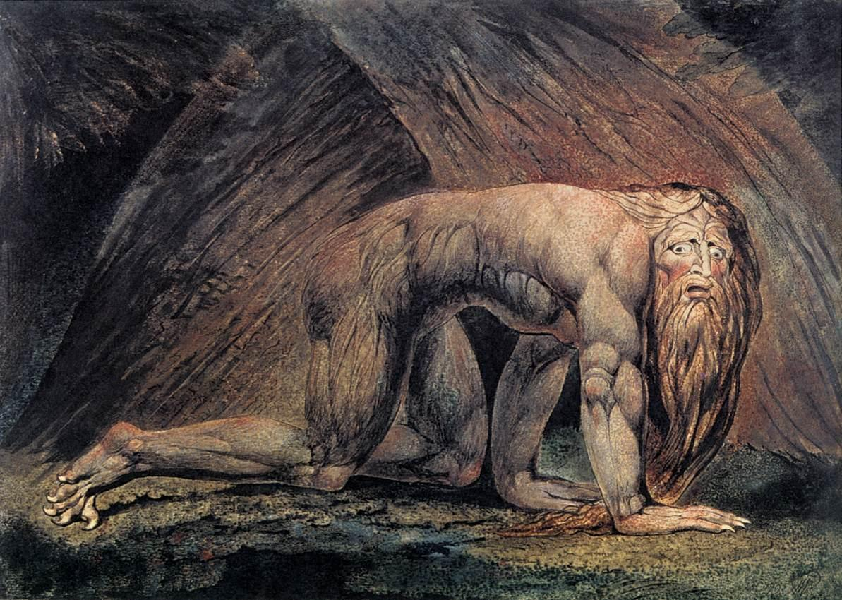 "The Tate print of ""Nebuchadnezzar"", a print by William Blake (1805) depicting the humbled King Nebuchadnezzar II from the Book of Daniel"