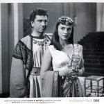 "Richard Conte and Linda Christian in a promotional photo for ""Slaves of Babylon"" (1953)"