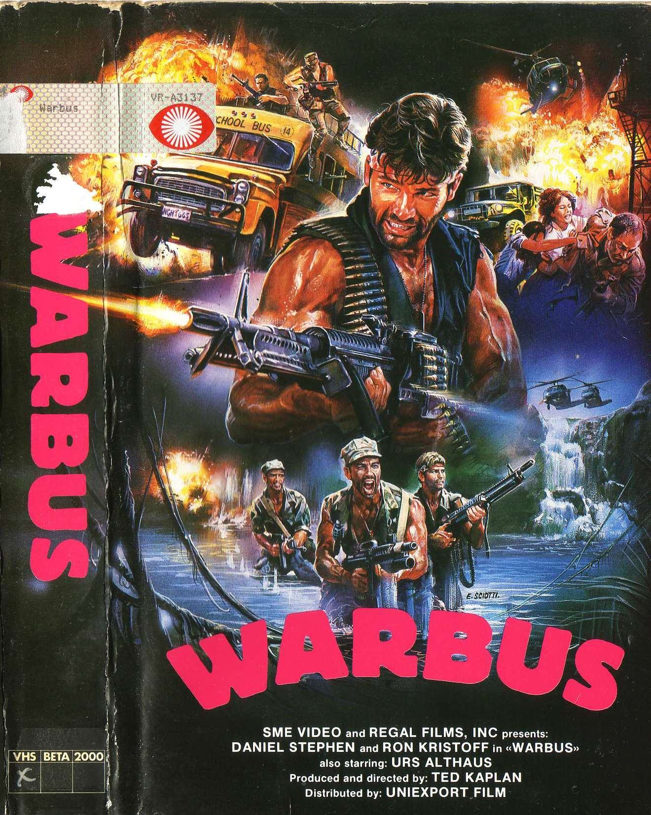"VHS box cover to ""Warbus"" (1985)"