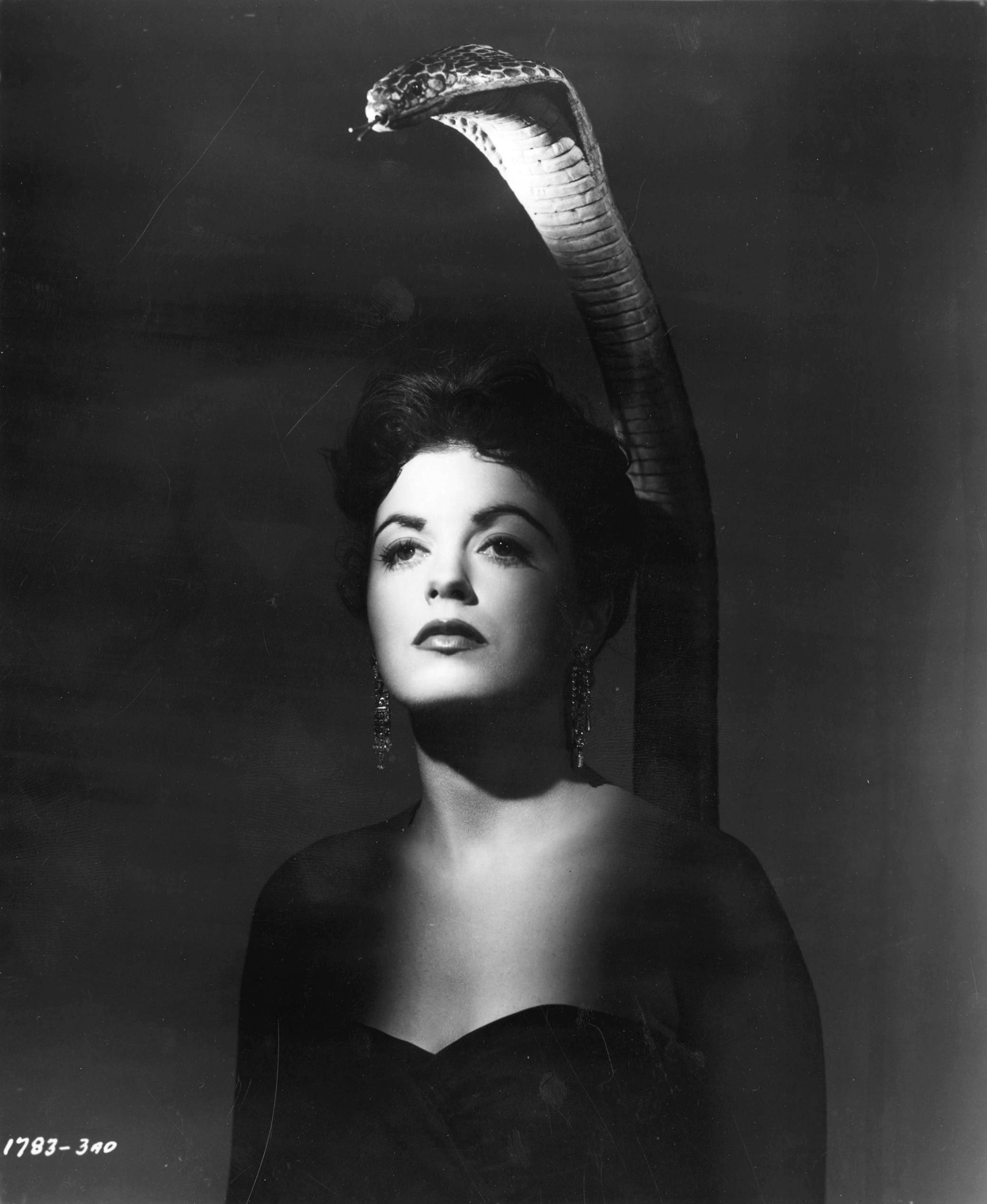 "Promotional Photo of Faith Domergue as Lisa Moya and her cobra alter ego from ""Cult of the Cobra"" (1955)"