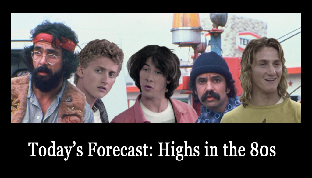 Tommy Chong, Alex Winter, Keanu Reeves, Cheech Marin, and Sean Penn as their iconic 80s stoner characters.
