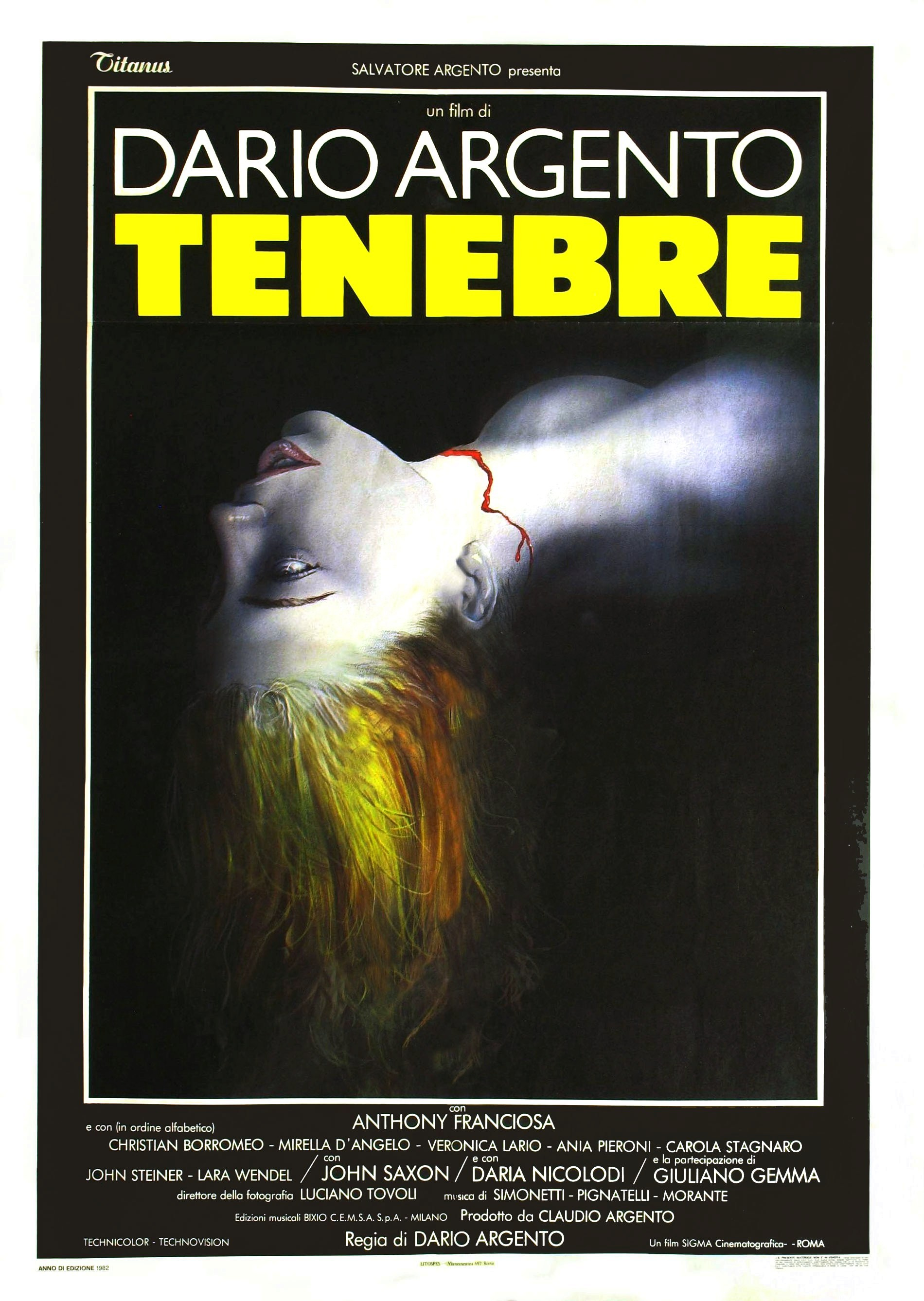 Italian Movie Poster for &quotTenebrae&quot
