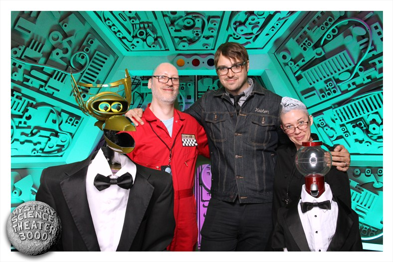 Ray and Jess with Jonah Ray, Crow, and Tom Servo at the MST3K New York Screening afterparty